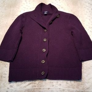 Chaps Purple 3/4 Sleeve Thicker Knit Sweater